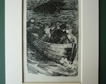 Vintage 1900s Guy De Maupassant Print - Lifeboat - Black & White - French Literature - Shipwreck - Edwardian - Matted