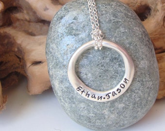 Personalised Sterling Silver Organic Ring Pendant
