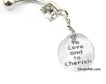 To Love And To Cherish WEDDING VOW Navel Belly Ring