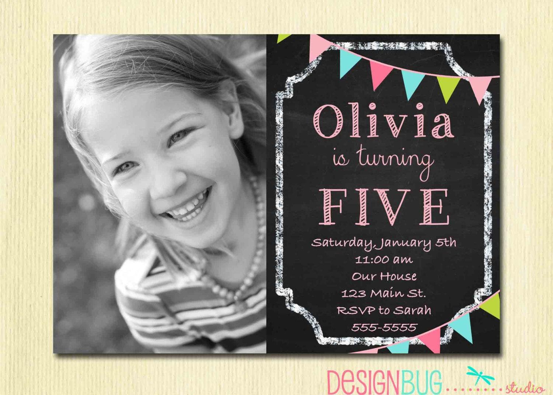 Birthday Girl Invitation Custom Chalkboard Bunting Photo – 5 Year Old Birthday Invitation Wording