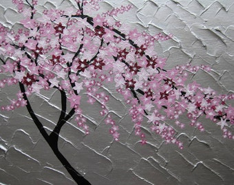 "Japanese, cherry blossom, painting, japanese art, tree,  pink , trees, cherry blossoms, silver, textured, flowers, blossoms, 24"" x 20"""