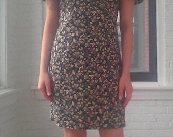 90s Floral Sheath Dress with Flutter Sleeves