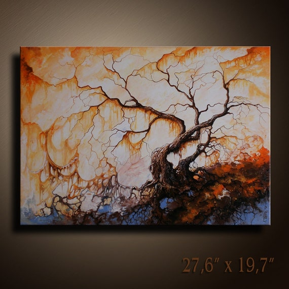 Original Abstract Landscape tree Painting on Canvas