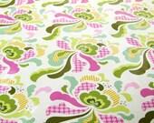 SALE Laminated Freshcut groovy olive cotton fabric  1 yard