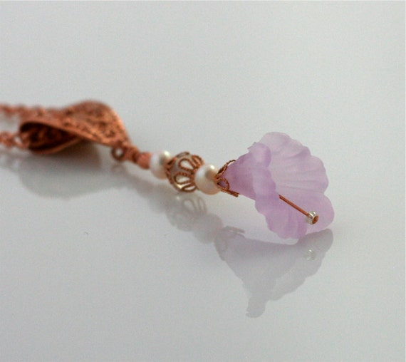 Copper Pendant Necklace with Flower of Soft Pink and Pearls
