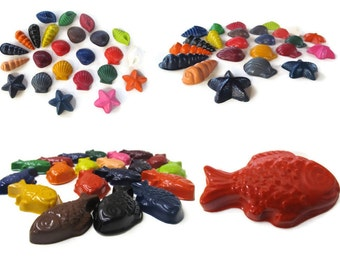 Seashells and Fish Crayons set of 20 - party favors