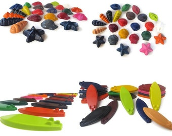 Surfboard and Seashell Crayons set of 40 - party favors