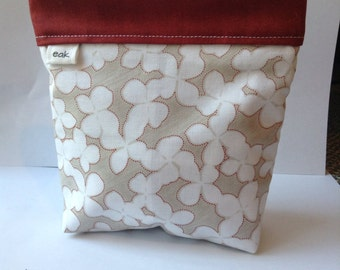 Cute Red and Grey Flowered Snap Bag