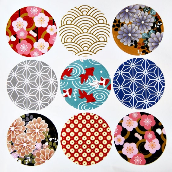 9 Round Japanese Kimono Design Paper Sticker Labels 4cm