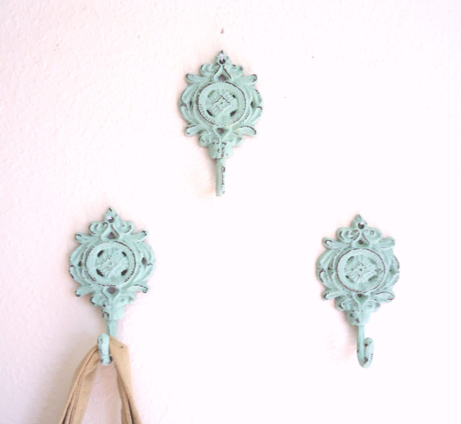 3 wall hooks shabby chic decor cast iron french by for Shabby chic wall art