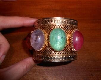 Vintage Beaded Gold Tone Cuff Bracelet