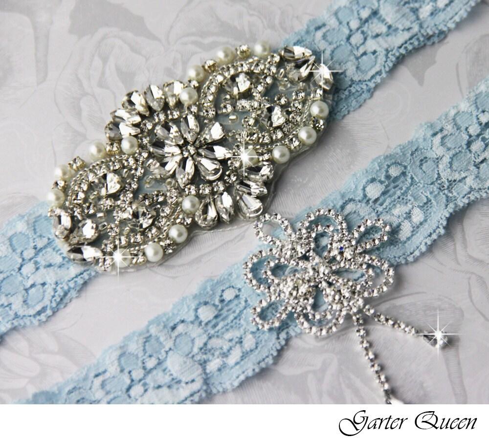 Blue Wedding Garter Set Blue Lace Garter Set Lace By GarterQueen