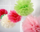 "6 Medium 14"" Tissue Paper Pom Poms - Choose your colors - Nursery / Wedding / Bridal / Baby Shower / Birthday Party Decoration"