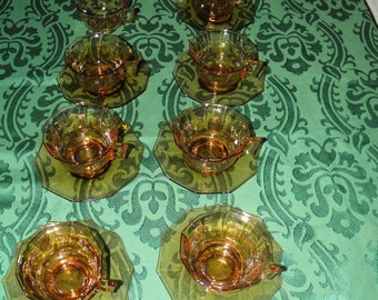 Cambridge Amber Cups and Saucers Decagon