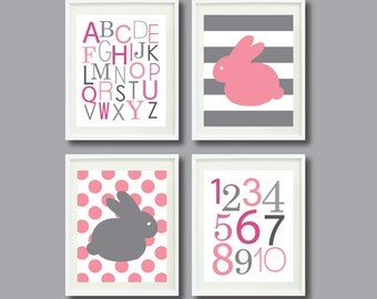 Bunny Rabbit Art Print Set of Four 11x14-Alphabet, Numbers, Polka Dots, Stripes-Nursery, Kids Room-Pink, White, Grey/Gray OR Choose Color