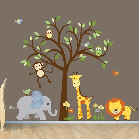 Gender neutral wall decal safari wall decal tree wall decal for Baby jungle mural