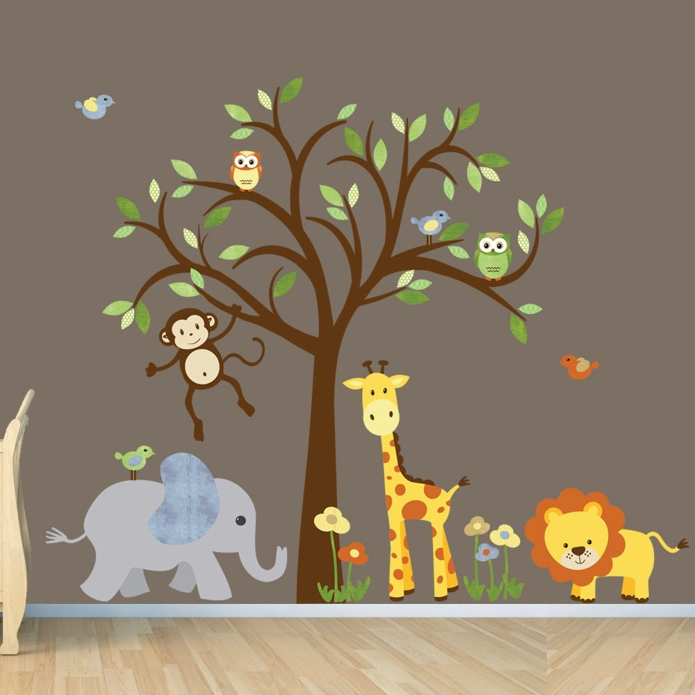 Gender neutral wall decal safari wall decal tree wall decal for Animal wall mural
