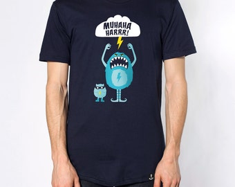 T-Shirt men cute Monster - premium screen printing - Navy American Apparel - S