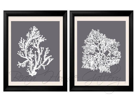 Grey And White Wall Art gray coral wall art cool grey coral print grey white wall
