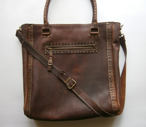 Brown Shoulder Bag,15 inch Laptop Bag,Tote Bag, Full Grain leather Shoulder Bag, Custom order Office Bag