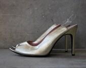Vintage Open Toe Metallic Gold Leather Cut Out Heels: Size 9 - EQUINEbyLauren