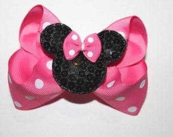 Pink Sequin Minnie Mouse Hair Bow, Polka Dot Hair Bow