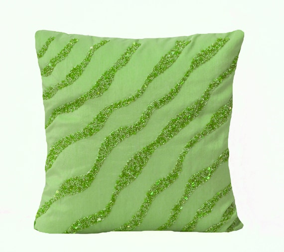 Green Sequin Throw Pillow : Green throw Pillows Green waves sequin bead detail cushion