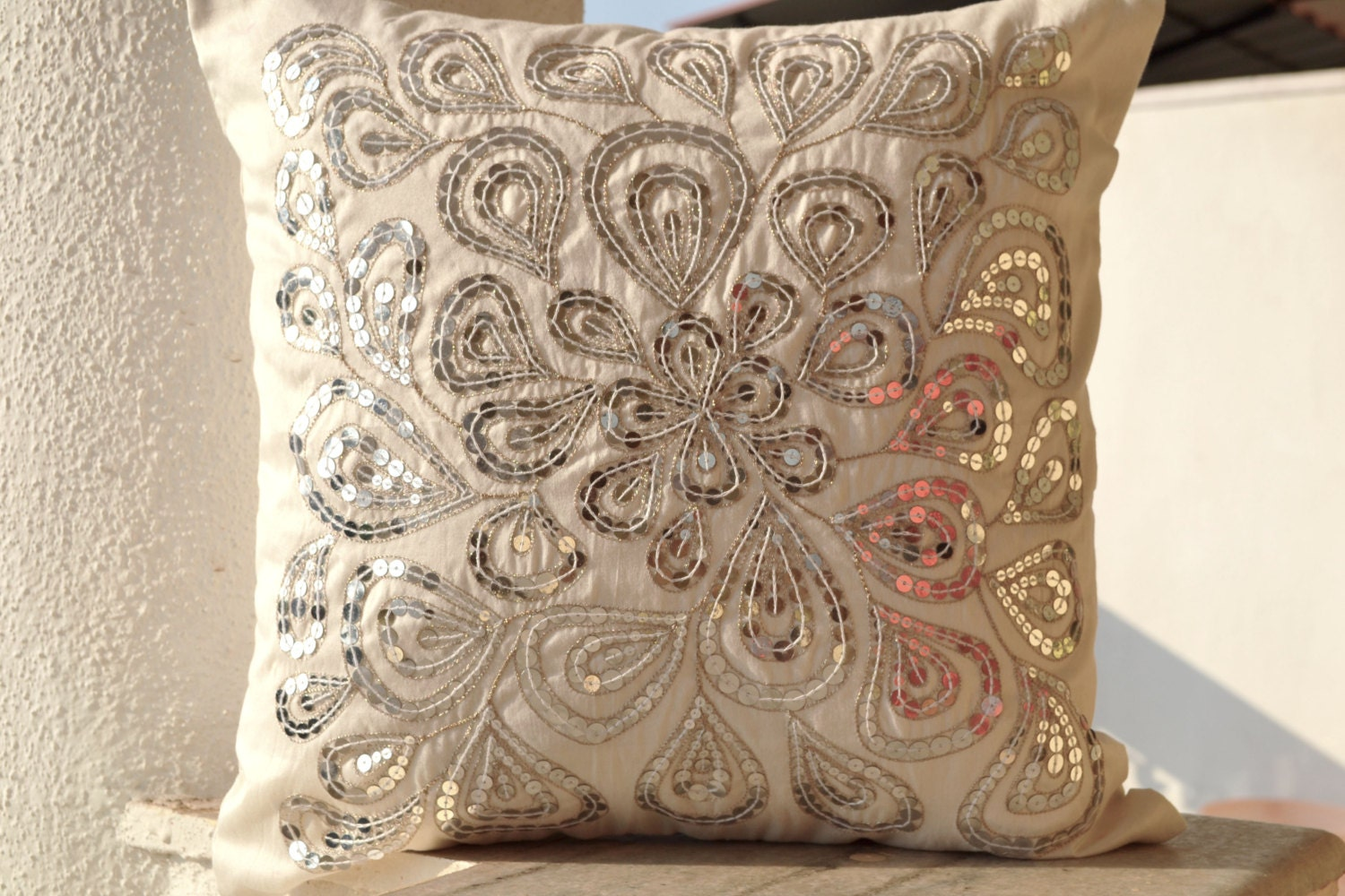 Decorative Pillows With Sequins : Ivory white throw pillows with silver sequins Dazzling pillow