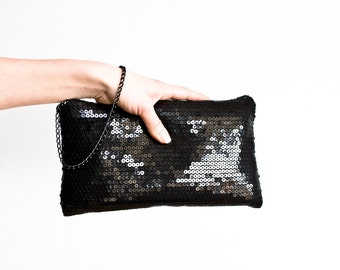 Black Sequin Clutch, Evening Prom Pouch, Black Cocktail Purse, Bridesmaids Wristlet Clutches, Statement Handbag, New Years Eve Party Clutch