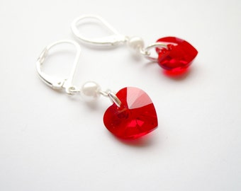 Romantic earrings with White Pearls and red Swarovski heart pendant