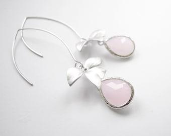 Pastel Light Pink Silver Framed Glass Flower Earrings