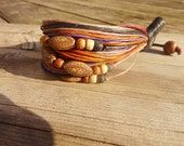 Colorful wax cord with wooden beads bracelet handmade