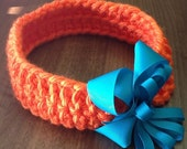 Orange Baby Headband, Crochet Chunky Baby Headband, Blue Bow Headband - BabyBunnyCreations