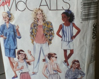 "McCall's Girl's Shirt, Top Pants, Shorts and Skirt Pattern 3620 Girl's sizes 12-14, Breast 30""-32"", Waist 25""-26"", Hip 32""-34"""