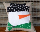 Primitive Snowman Pillow, Rustic Winter Decor, Holiday Pillow, Cute Snowman Face Applique, Teacher Gift, Gift Under 20