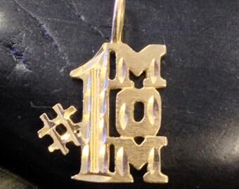 "14k Yellow Gold ""1 Mom"" Pendant (st - 430)"