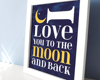 Baby Boy Nursery Decor - I Love You to the Moon and Back Celestial Art - Navy Blue Nursery Wall Decor - Nursery Wall Art with Stars & Moon