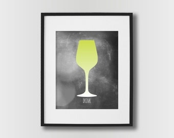 Unique Wine Art - Wine Prints - Wine Glass Decor - Kitchen Prints - Wine Poster -  Ombre - Dining Room Wine Poster - Lime Green / Gray Shown