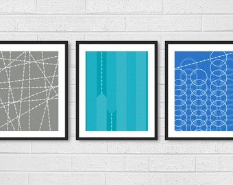Modern Living Room Wall Art Prints Posters - Set of 3 - Dining Room Wall Decor - Industrial Geometric Patterns - Gray Aqua Blue Shown
