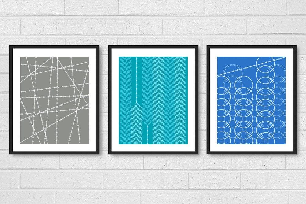 Modern Living Room Wall Decor Set : Modern living room wall art prints posters set of dining