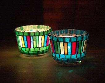 set of handmade mosaic candle holders/tealight set/blue/green