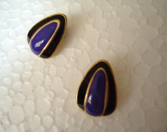 Purple Black post earrings