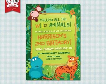 Kids Jungle/Safari birthday invitation - Custom, Printable