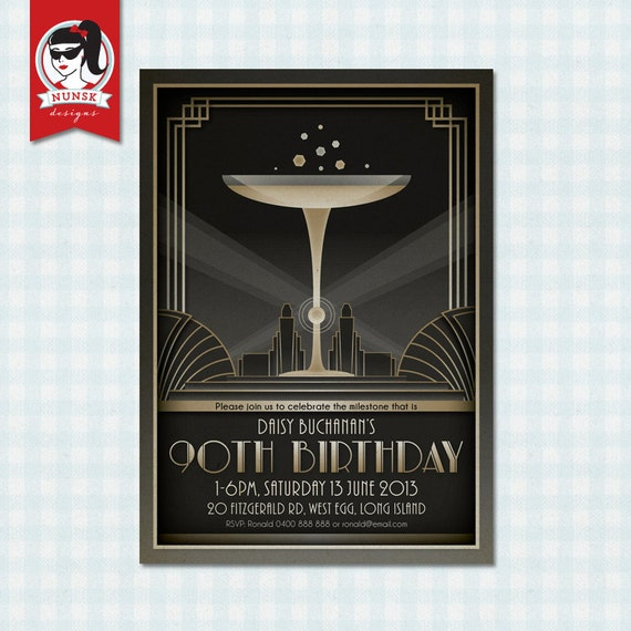 90th Birthday Party Invitations 20s Art Deco by NunskDesigns