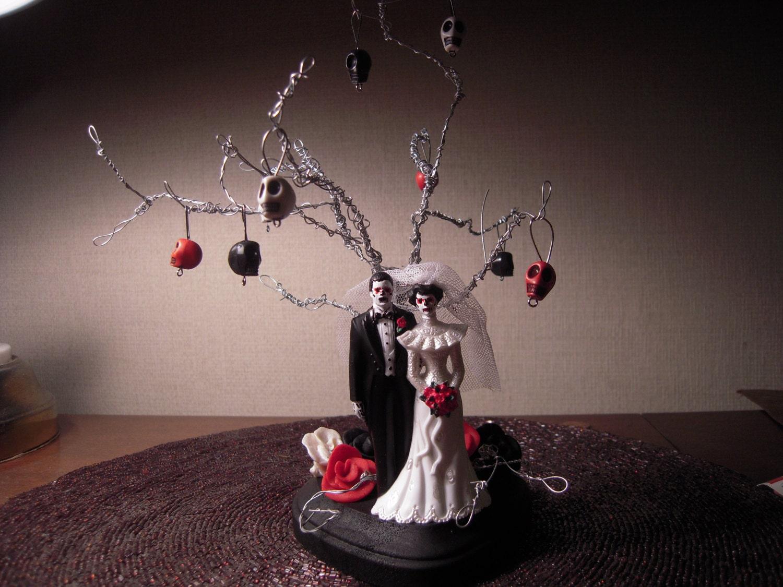 tree of life wedding cake topper day ofthe dead skeleton