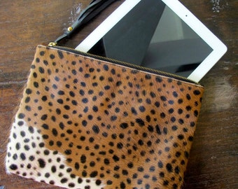 MEDIUM Brown Cheetah Cows Hide Clutch- Animal Print Case with Suede Lining & Leather Tassel - iPad MINI Case, iPad Cover