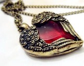 Free shipping vintage necklace-Angel Wing Red Heart Necklace Eternal Angel Love Necklace,brass necklace,sweater chain