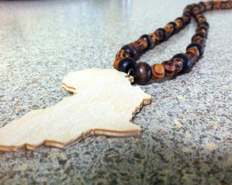African Wooden Bead Necklace