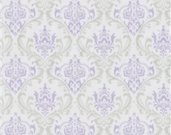 Pick Your YardageBaby Lavender/Gray/Silver Damask  Print 100% Cotton Twill  Fabric