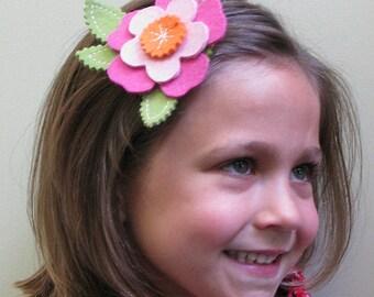 Pink Flower Hair Clip for LIttle Girls